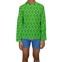 Green Abstract Art Circles Swirls Stars Kids  Long Sleeve Swimwear