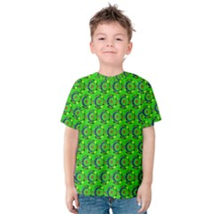Green Abstract Art Circles Swirls Stars Kids  Cotton Tee
