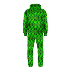 Green Abstract Art Circles Swirls Stars Hooded Jumpsuit (Kids)