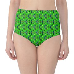 Green Abstract Art Circles Swirls Stars High-Waist Bikini Bottoms