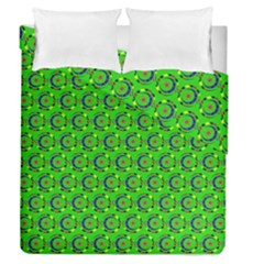 Green Abstract Art Circles Swirls Stars Duvet Cover Double Side (queen Size)