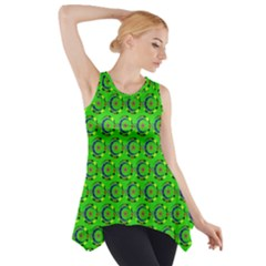 Green Abstract Art Circles Swirls Stars Side Drop Tank Tunic
