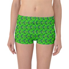 Green Abstract Art Circles Swirls Stars Reversible Bikini Bottoms