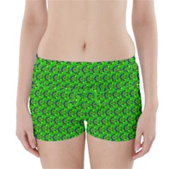 Green Abstract Art Circles Swirls Stars Boyleg Bikini Wrap Bottoms