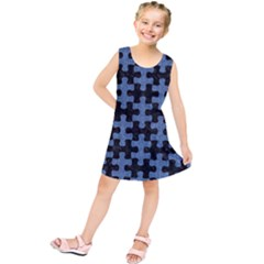 PUZ1 BK-MRBL BL-DENM Kids  Tunic Dress