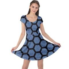 HXG2 BK-MRBL BL-DENM (R) Cap Sleeve Dresses