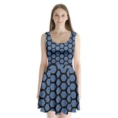 HXG2 BK-MRBL BL-DENM (R) Split Back Mini Dress
