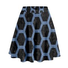 HXG2 BK-MRBL BL-DENM High Waist Skirt