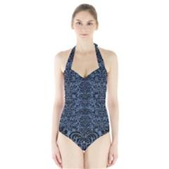 DMS2 BK-MRBL BL-DENM (R) Halter Swimsuit