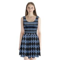 Diamond1 Black Marble & Blue Denim Split Back Mini Dress