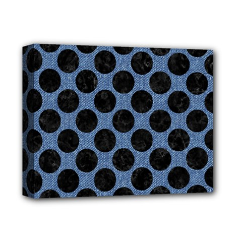 Circles2 Black Marble & Blue Denim (r) Deluxe Canvas 14  X 11  (stretched)