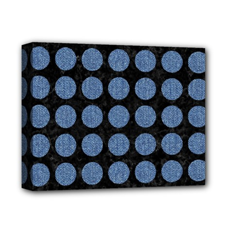 Circles1 Black Marble & Blue Denim Deluxe Canvas 14  X 11  (stretched)