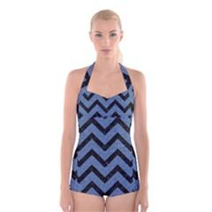 CHV9 BK-MRBL BL-DENM (R) Boyleg Halter Swimsuit