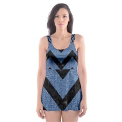 CHV9 BK-MRBL BL-DENM (R) Skater Dress Swimsuit