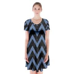CHV9 BK-MRBL BL-DENM Short Sleeve V-neck Flare Dress