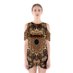 3d Fractal Art Shoulder Cutout One Piece