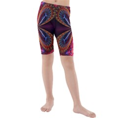 3d Abstract Ring Kids  Mid Length Swim Shorts