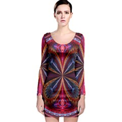 3d Abstract Ring Long Sleeve Bodycon Dress