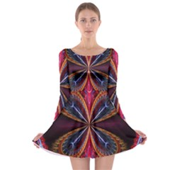 3d Abstract Ring Long Sleeve Skater Dress