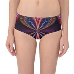3d Abstract Ring Mid-Waist Bikini Bottoms
