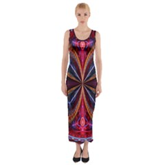 3d Abstract Ring Fitted Maxi Dress