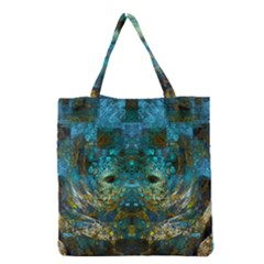 Blue Gold Modern Abstract Geometric Grocery Tote Bag
