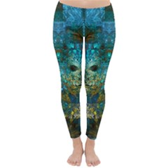 Blue Gold Modern Abstract Geometric Classic Winter Leggings