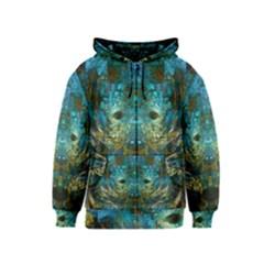 Blue Gold Modern Abstract Geometric Kids  Zipper Hoodie