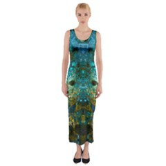 Blue Gold Modern Abstract Geometric Fitted Maxi Dress
