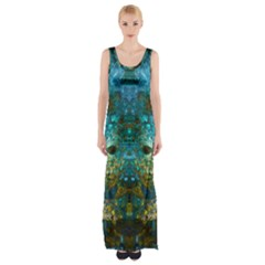 Blue Gold Modern Abstract Geometric Maxi Thigh Split Dress