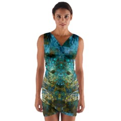 Blue Gold Modern Abstract Geometric Wrap Front Bodycon Dress
