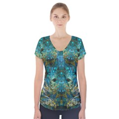Blue Gold Modern Abstract Geometric Short Sleeve Front Detail Top