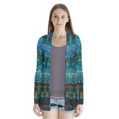 Blue Gold Modern Abstract Geometric Cardigans