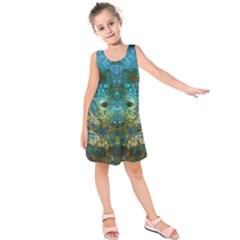 Blue Gold Modern Abstract Geometric Kids  Sleeveless Dress