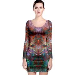 Modern Abstract Geometric Art Rainbow Colors Long Sleeve Bodycon Dress