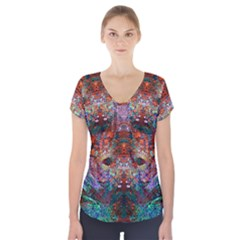 Modern Abstract Geometric Art Rainbow Colors Short Sleeve Front Detail Top
