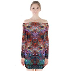 Modern Abstract Geometric Art Rainbow Colors Long Sleeve Off Shoulder Dress