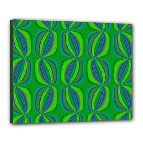 Blue Green Ethnic Print Pattern Canvas 20  x 16