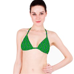 Blue Green Ethnic Print Pattern Bikini Top