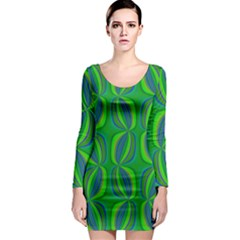 Blue Green Ethnic Print Pattern Long Sleeve Bodycon Dress