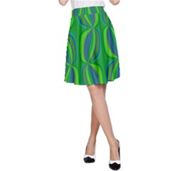 Blue Green Ethnic Print Pattern A-Line Skirt