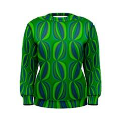 Blue Green Ethnic Print Pattern Women s Sweatshirt