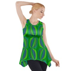 Blue Green Ethnic Print Pattern Side Drop Tank Tunic