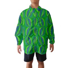 Blue Green Ethnic Print Pattern Wind Breaker (Kids)