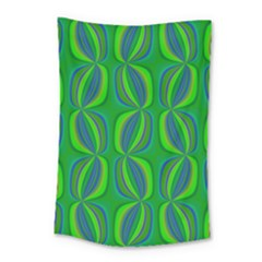 Blue Green Ethnic Print Pattern Small Tapestry