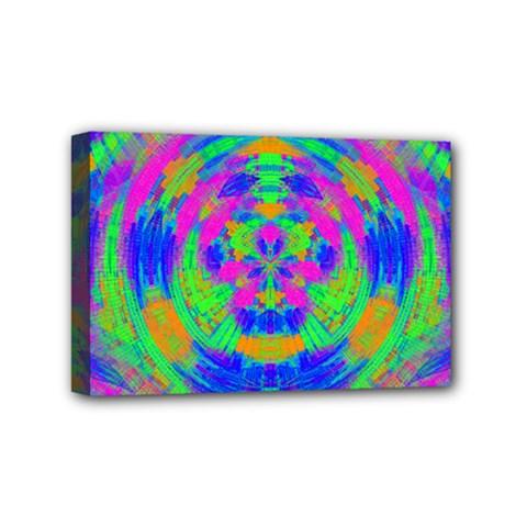 Boho Hippie Retro Psychedlic Neon Rainbow Mini Canvas 6  x 4  (Stretched)