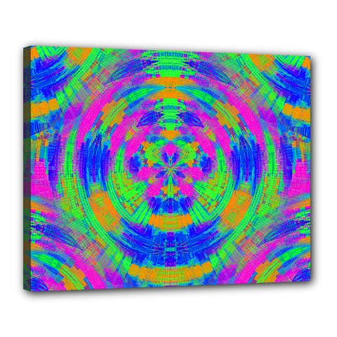 Boho Hippie Retro Psychedlic Neon Rainbow Canvas 20  x 16  (Stretched)