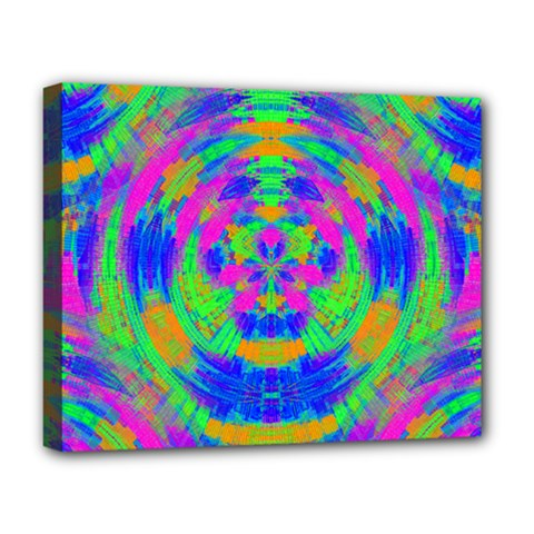 Boho Hippie Retro Psychedlic Neon Rainbow Deluxe Canvas 20  x 16  (Stretched)