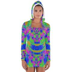 Boho Hippie Retro Psychedlic Neon Rainbow Women s Long Sleeve Hooded T-shirt