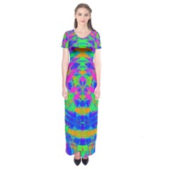 Boho Hippie Retro Psychedlic Neon Rainbow Short Sleeve Maxi Dress